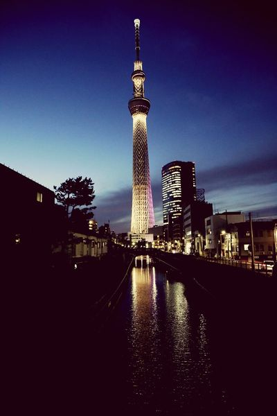 tokyo tokyo,japan skytree Reflection Night City Travel Destinations Bridge - Man Made Structure Tower Illuminated Water Architecture Outdoors Business Finance And Industry No People Sky Cityscape Clock Tower
