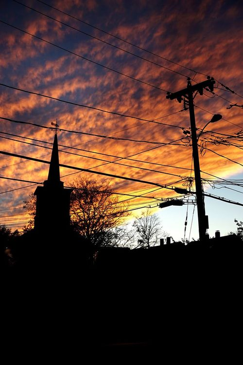 Sunset Church Clouds Clouds And Sky Utility Pole Power Pole Cables Rockport Massachusetts Embrace Urban Life