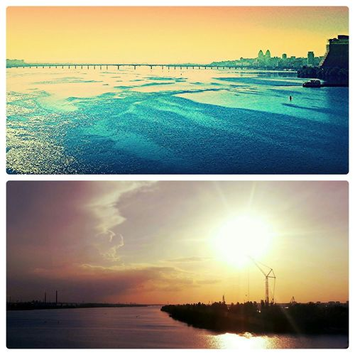 2 sides of a bridge. Morning and evening. Dnepropetrovsk city Sunrise Enjoying Life Hello World View Landscape Industrial
