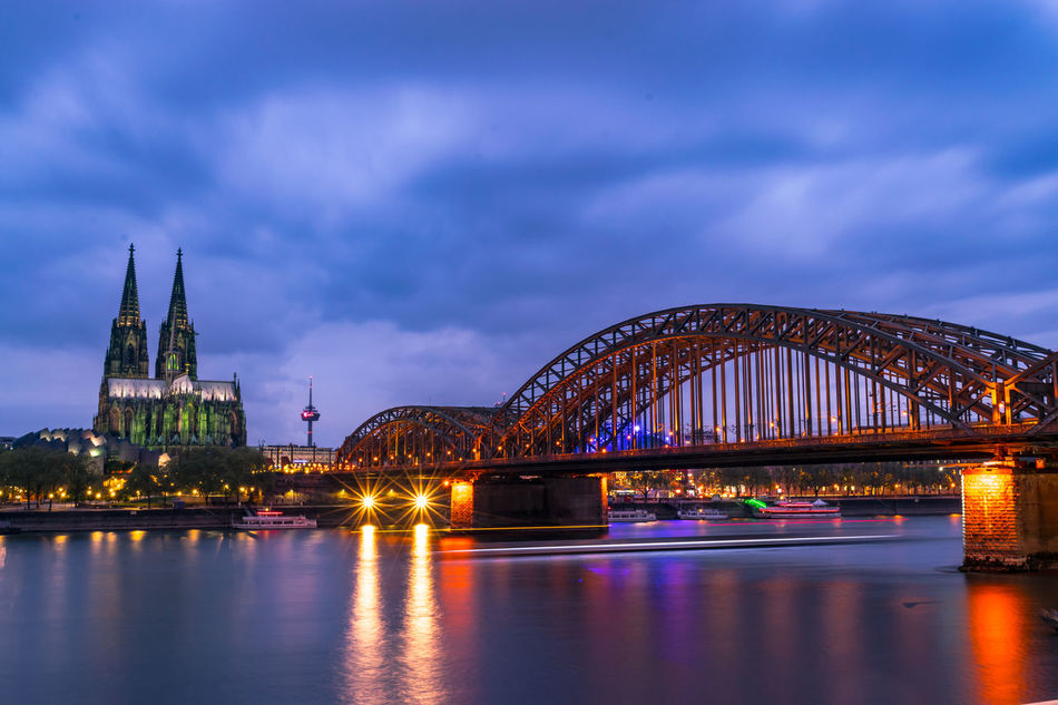 """""""Blue hour"""" Blue Hour Bridge Built Structure Cathedral Colonge Lights River Water Water Reflections"""