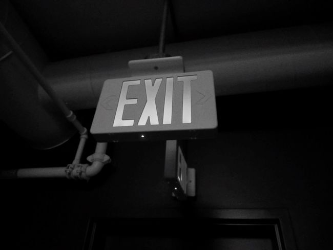 Communication Transportation Text Information Sign Signboard Subway Station Hotel Newyorkcity Abroad Adventure Exit Sign Exit Blackandwhite Journey