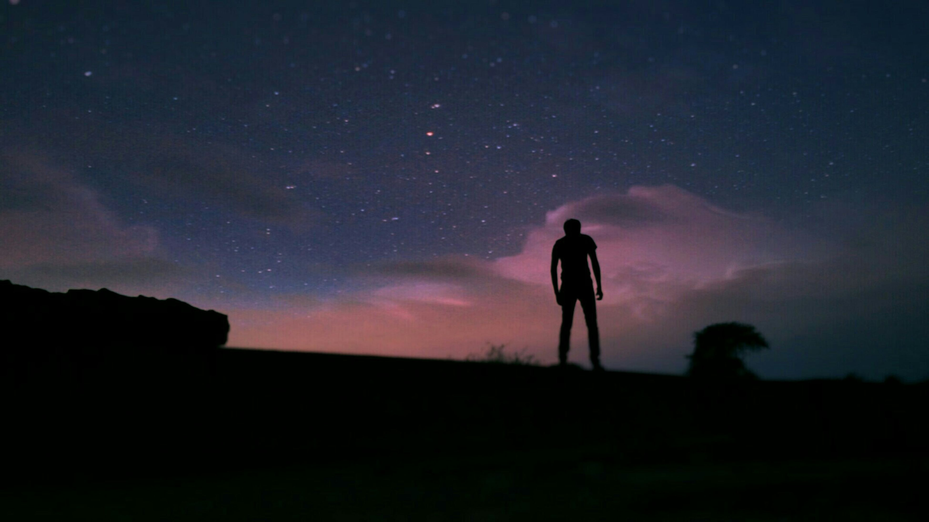 silhouette, sky, standing, lifestyles, men, leisure activity, scenics, tranquility, tranquil scene, rear view, beauty in nature, full length, nature, cloud - sky, night, dusk, dark, landscape