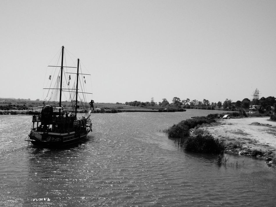 Boat Travel Destinations Trees Pirate Ship Boat On The River.. Tourism Day Trip On A Boat Tourist Attraction  Travel Photography Water River Manavgat River Black & White Black And White Black And White Photography On The Way