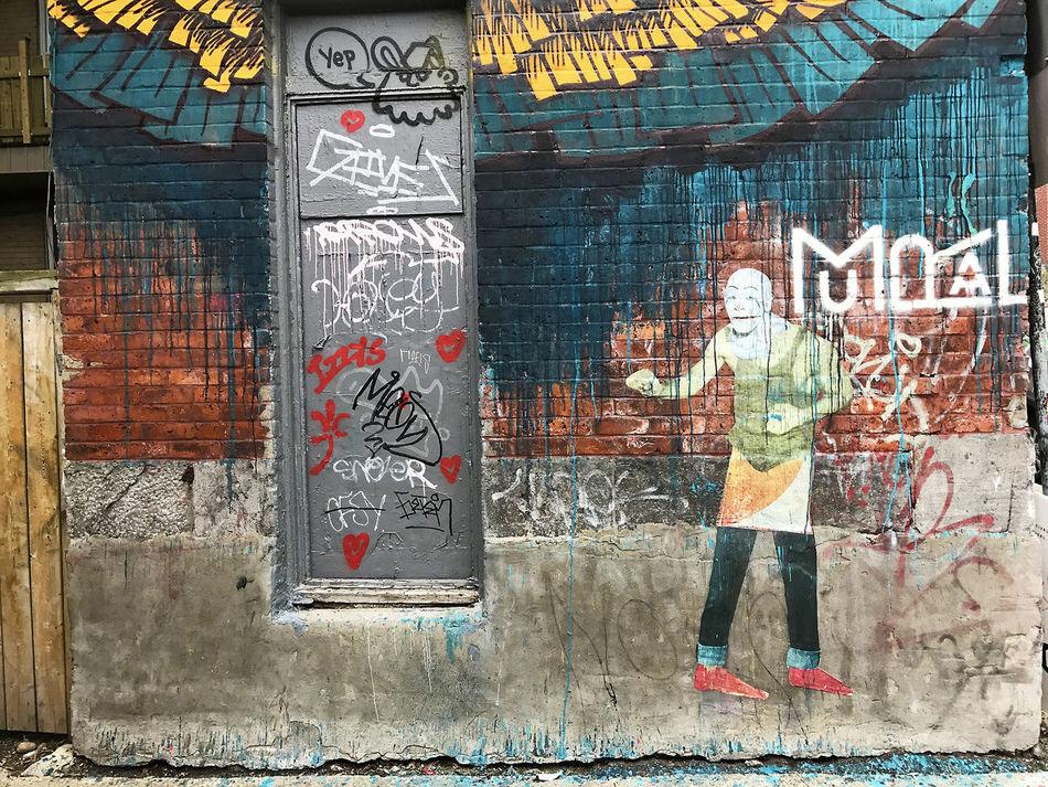 Eggphoto Garth Gilker Mural St Laurent Plateau-Mont-Royal Architecture Art And Craft Building Exterior Built Structure Communication Creativity Day Eggilker Graffiti Human Representation Multi Colored Mural Art No People Outdoors Street Art Text Urbanphotography Urrban