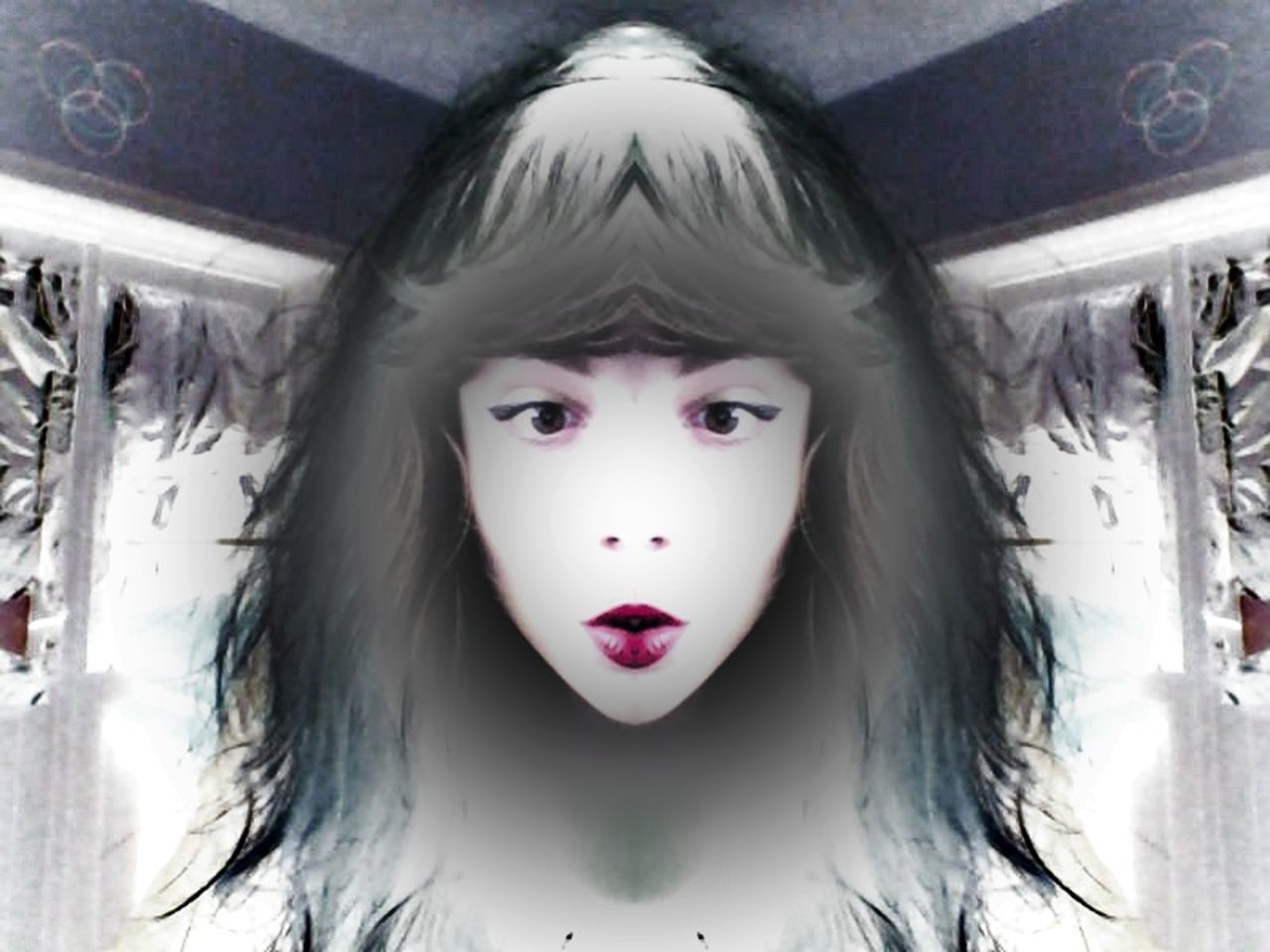 Alien Girl Balloon Head Human Face Long Hair No Body Portrait Symbols Water Me