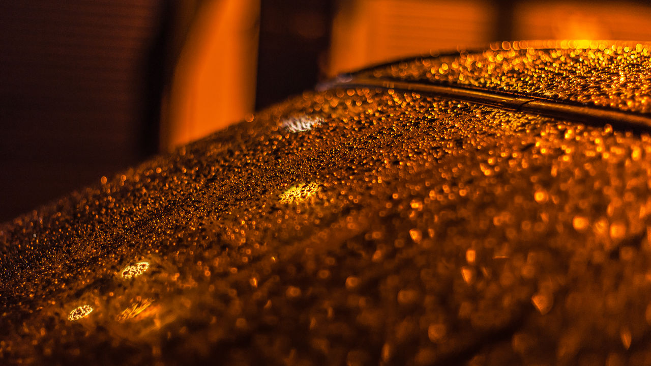 Car Windshield Close-up Gold Colored Illuminated Night No People Rain Drops Reflection Reflection In The Water Reflection In The Window