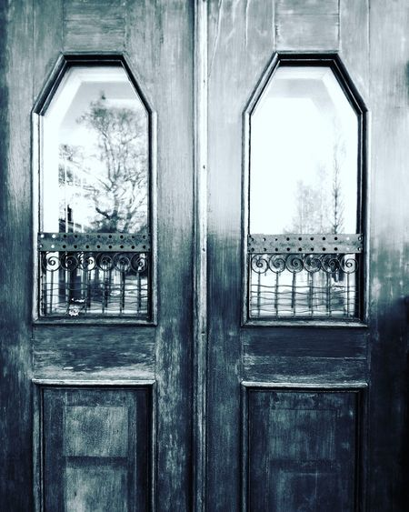 No People Full Frame Close-up Architecture Doors Double Doors Decorative Blackandwhite Reflections Wrought Iron Doorway Closed Door Shades Of Grey