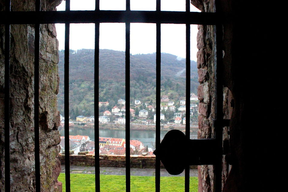 Captive Captivity Day Frosted Glass Indoors  Landscape Nature No People Prision Bars Security Bar Sky Window Window Frame