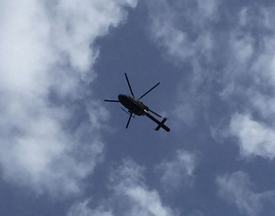 Beauty In Nature Blue Cloud Cloud - Sky Cloudscape Cloudy Day Helicopter Journey Low Angle View Mid-air Mode Of Transport Nature No People Outdoors Overcast Police Helicopter Sky Weather Dramatic Angles