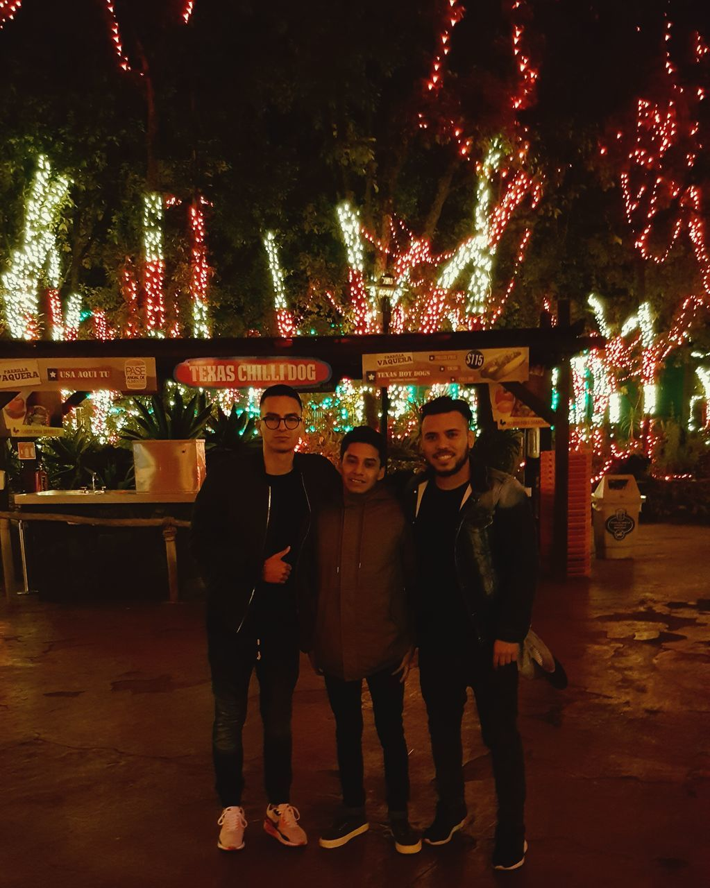 night, illuminated, celebration, men, looking at camera, real people, tree, portrait, full length, standing, outdoors, young women, young adult, women, happiness, togetherness, friendship, smiling, multi colored, city, adult, people