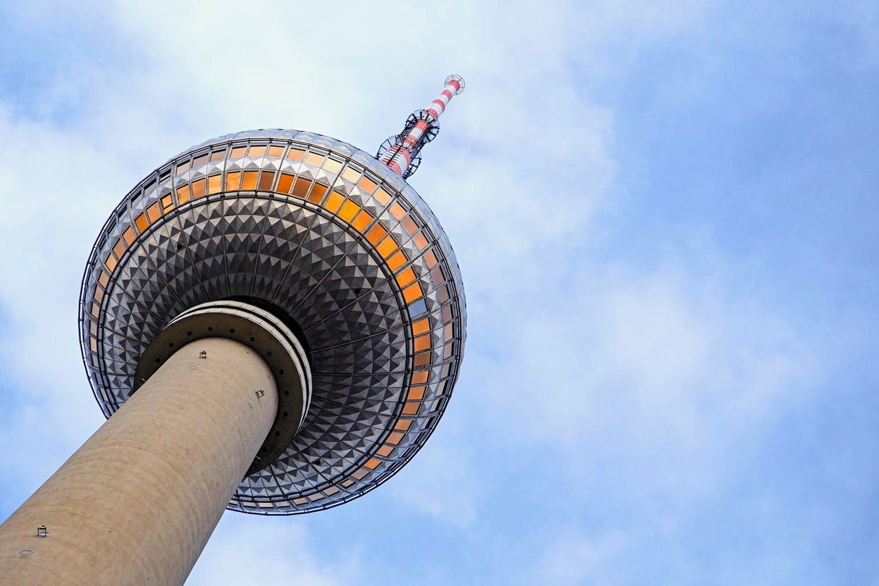 Sky Low Angle View Cloud - Sky Architecture Built Structure Tower Travel Destinations Outdoors City No People Building Exterior Day Global Communications Berlin Mini Break City View  Sunny Day Fernsehturm Alexanderplatz TV Tower Blue Sky