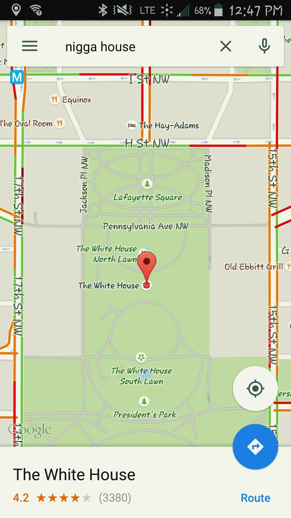Hate never wins..... Someone hacked/ edited Google Map USA Terribleaction Obamanation
