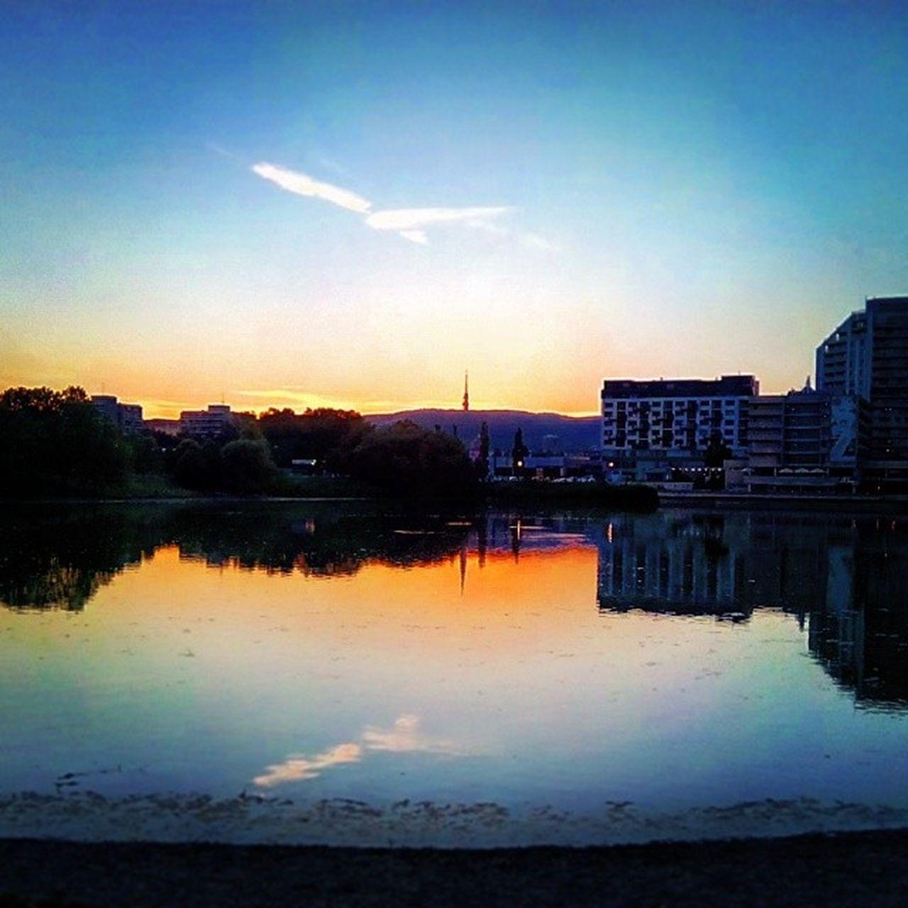 Sunset at Strkovec Strkoveckejazero Bratislava Slovakia. lake sky water Insta_SVK
