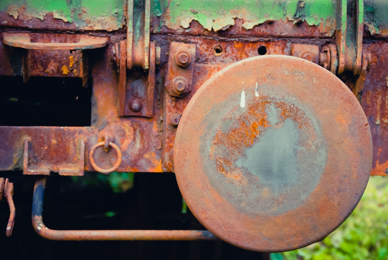rusty, obsolete, old, metal, weathered, damaged, abandoned, no people, close-up, run-down, day, train - vehicle, outdoors, steam train, locomotive