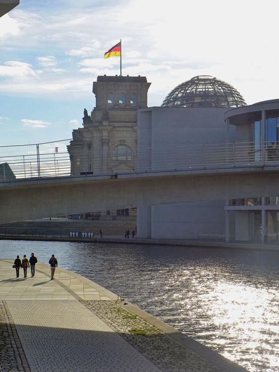Architecture Berlin Building Exterior Built Structure City Democracy Flag Government Politics And Government Reichstagskuppel River Shadow Sky Travel Destinations Capture Berlin