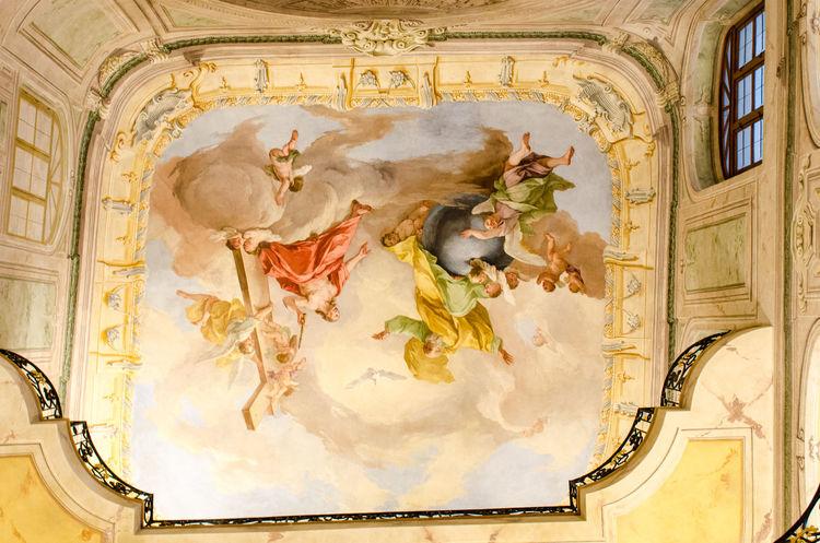 Colourful painted ceiling Ceiling Religious Art Romantic Architecture Decorative Decorative Art Fresco Ornate Design Religion Religous Spirituality
