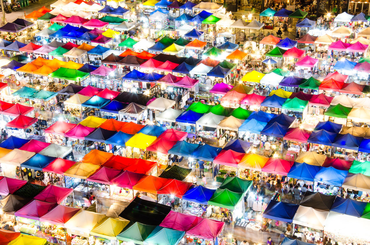 Colorful of night market ASIA Asian  Backgrounds Business City Colorful Colors Commercial Festival Lifestyles Light Market Night Market Outdoors Purchase Roof Sale Sales Shopping Tent Tents Thailand Travel View