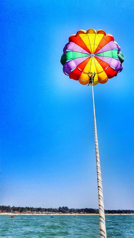 Height Photography Sea Beach Water Goa Tranquility Clouds In The Sky Watersports Photography Goa ❤❤ Goatrip Silence Of Nature Silence ! Watersports Parasailing Parachuting Horizon Over Water Horizon Over Sea Vertical View Happiness Happy Moments GalaxyS7Edge