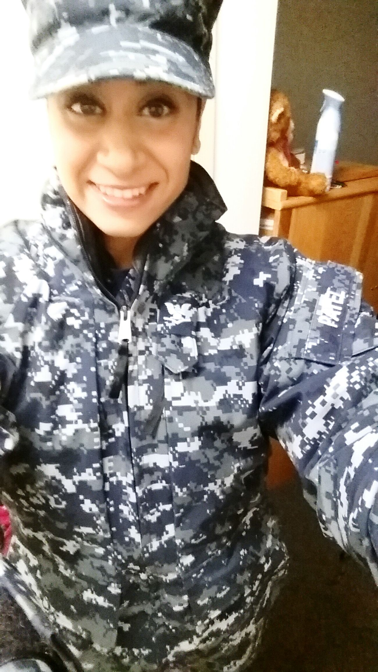 US Navy Military Woman In Uniform Selfie