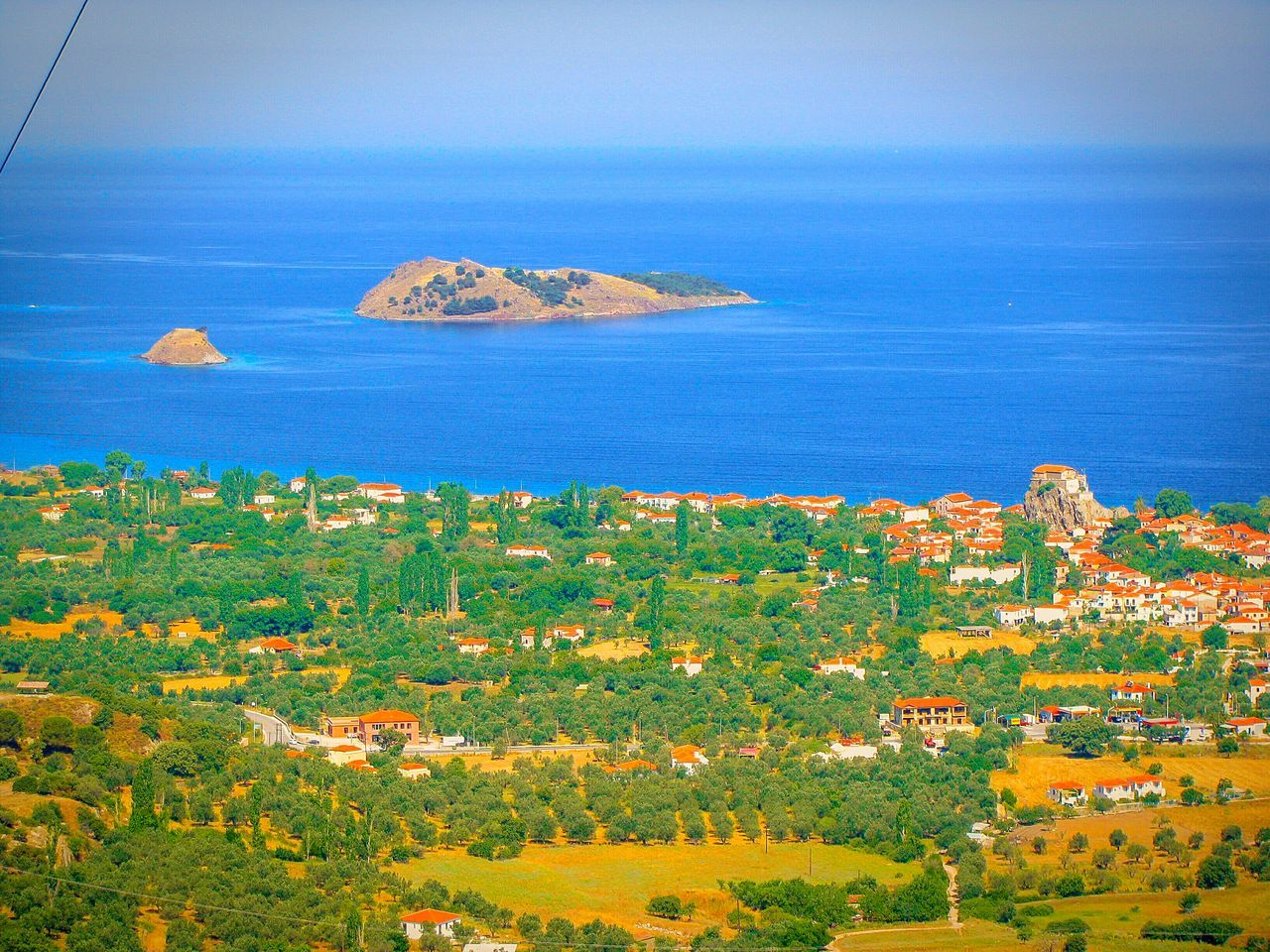 Village Sea Seaside Seaside Village Houses The Great Outdoors With Adobe A Bird's Eye View Countryside Landscape Landscapes Lesvos Island Greek Islands Petra Islets Shades Of Blue Blues Blue Sea View From Above Viewpoint View From The Top Amazing View Picturesque Blue Horizons Landscape_Collection
