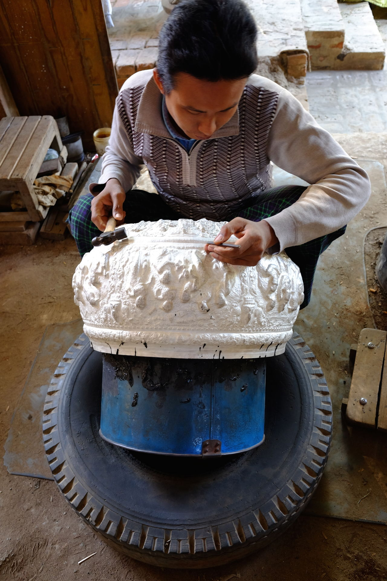 Making Embossed Silver Bowl Arts And Crafts Composition Creativity Embossing Full Frame Hand Made Indoor Photography Making A Living Mandalay Myanmar No Incidental People One Man Only One Person Ornate Design Production Silver  Silver Bowl Silversmith Silversmith's Trade Silverware  Tyre