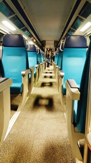 shadow creates the patternThinkoutsidethebox Shadow Empty Chair Empty Train NewToEyeEm