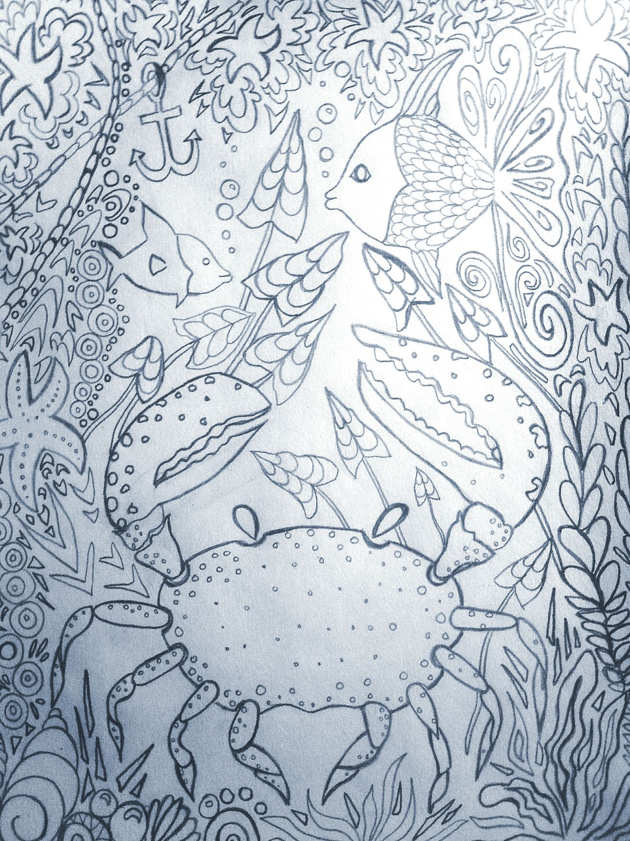 Underthesea Drawingoftheday Art, Drawing, Creativity Crab Starfish  Bubbles Art Therapy