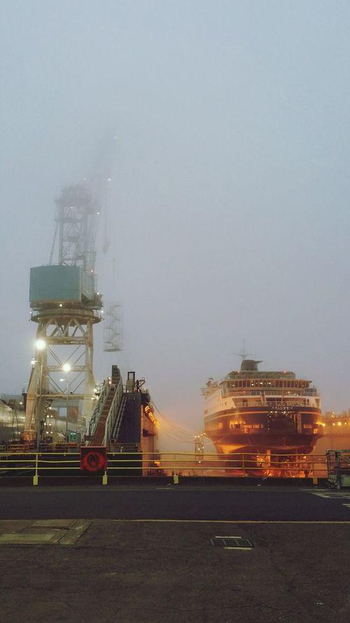 Fog Industry Outdoors Vertical Drydock Portland Oregon Vessel Ferry AMHS Shipyard Crane Shipbuilding Maritime Industry