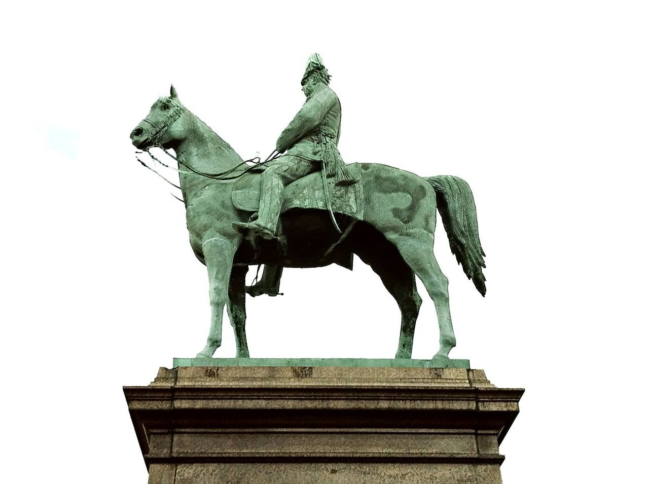 statue, sculpture, horse, low angle view, animal representation, art and craft, outdoors, no people, day, clear sky, built structure, sky