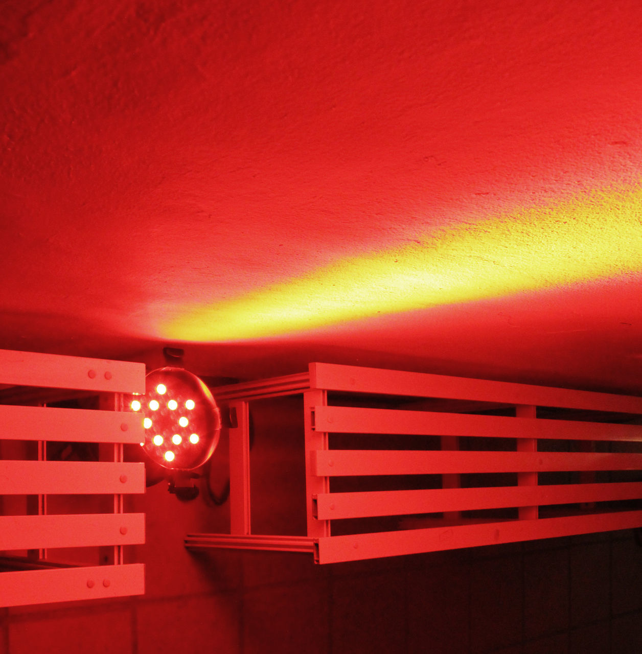 red, illuminated, lighting equipment, no people, indoors, built structure, architecture, technology, day