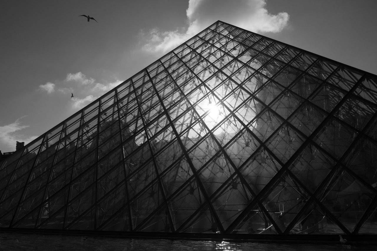sky, architecture, cloud - sky, low angle view, built structure, pyramid, day, no people, outdoors, building exterior