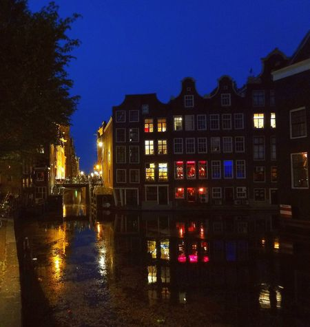 Amsterdam Water Reflections Red Light District