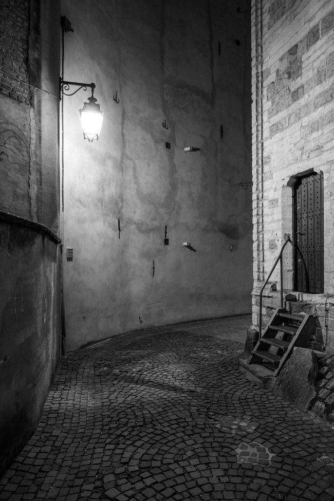 Alley At Night Architecture Bad Condition Building Built Structure Classic Car Darkness Old Stairs Stairways Stairways To Door Wall - Building Feature