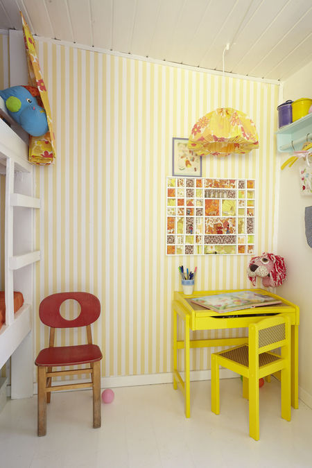 A cozy play corner in a small cottage (summer cottage) - In the next room is a large window - the room is very bright Bunkbed Chair Day Holiday Home Home Sweet Home Indoors  Kidsroom No People Playroom Table