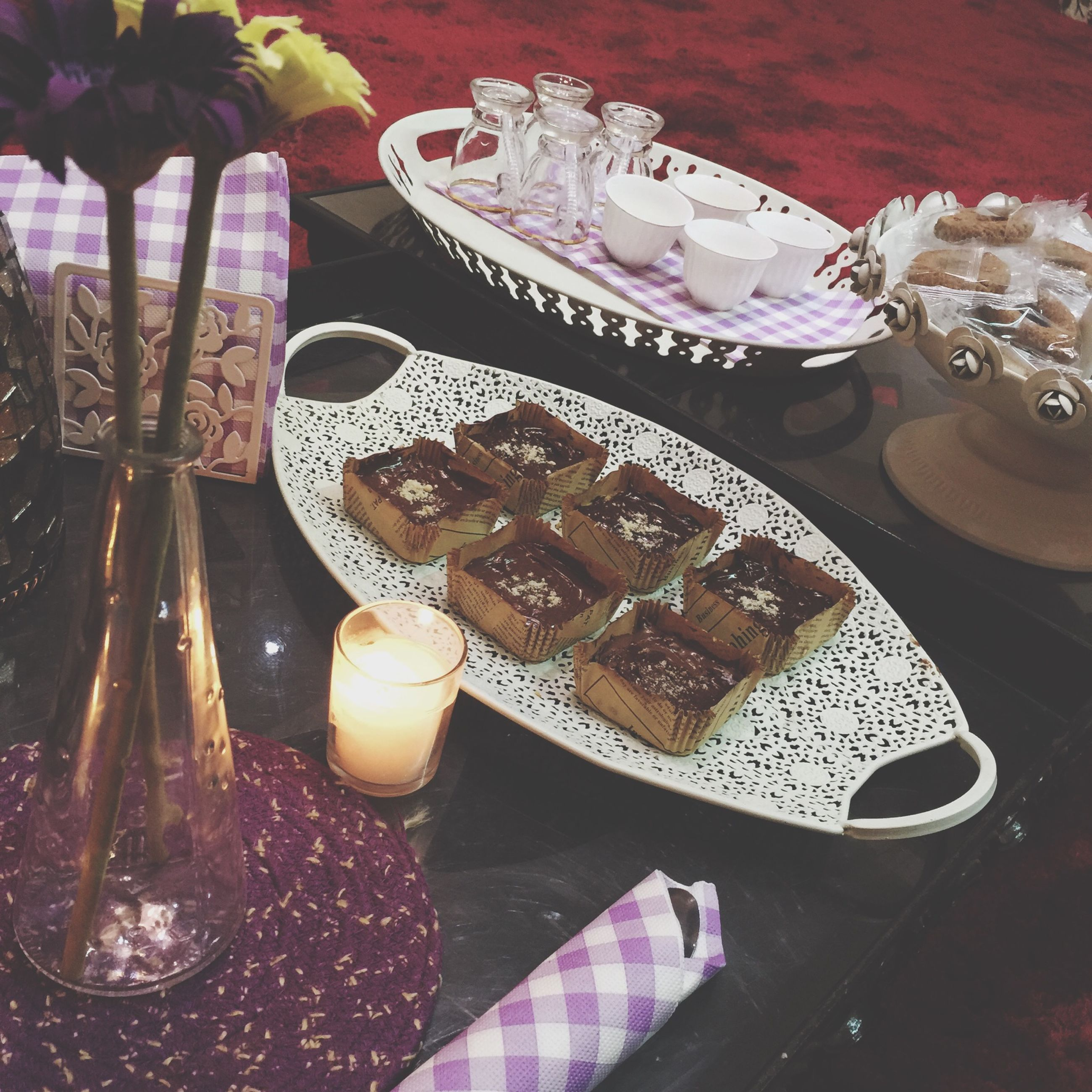 indoors, food and drink, table, still life, food, high angle view, sweet food, freshness, plate, dessert, ready-to-eat, indulgence, fork, cake, unhealthy eating, close-up, spoon, serving size, chocolate, drink
