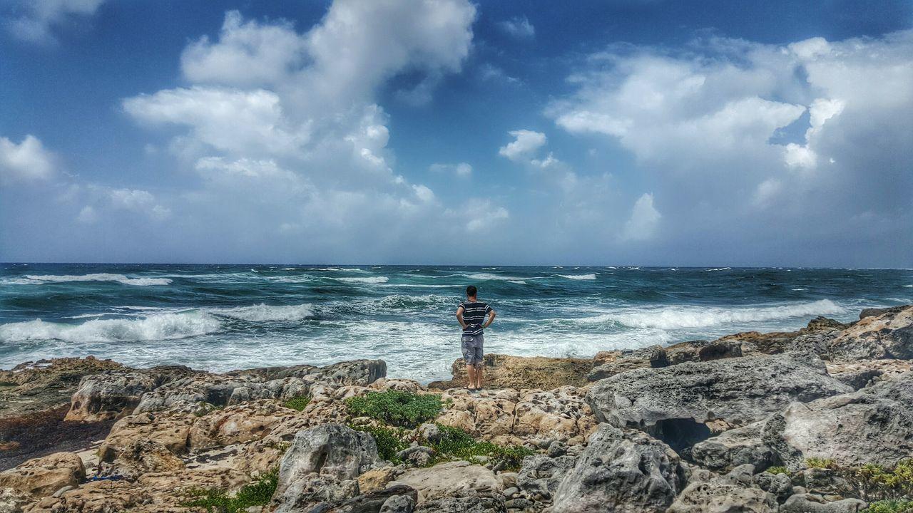 Rocky Coastline Windward Windward Side Beautiful  Ocean Cozumel Mexico Coastline