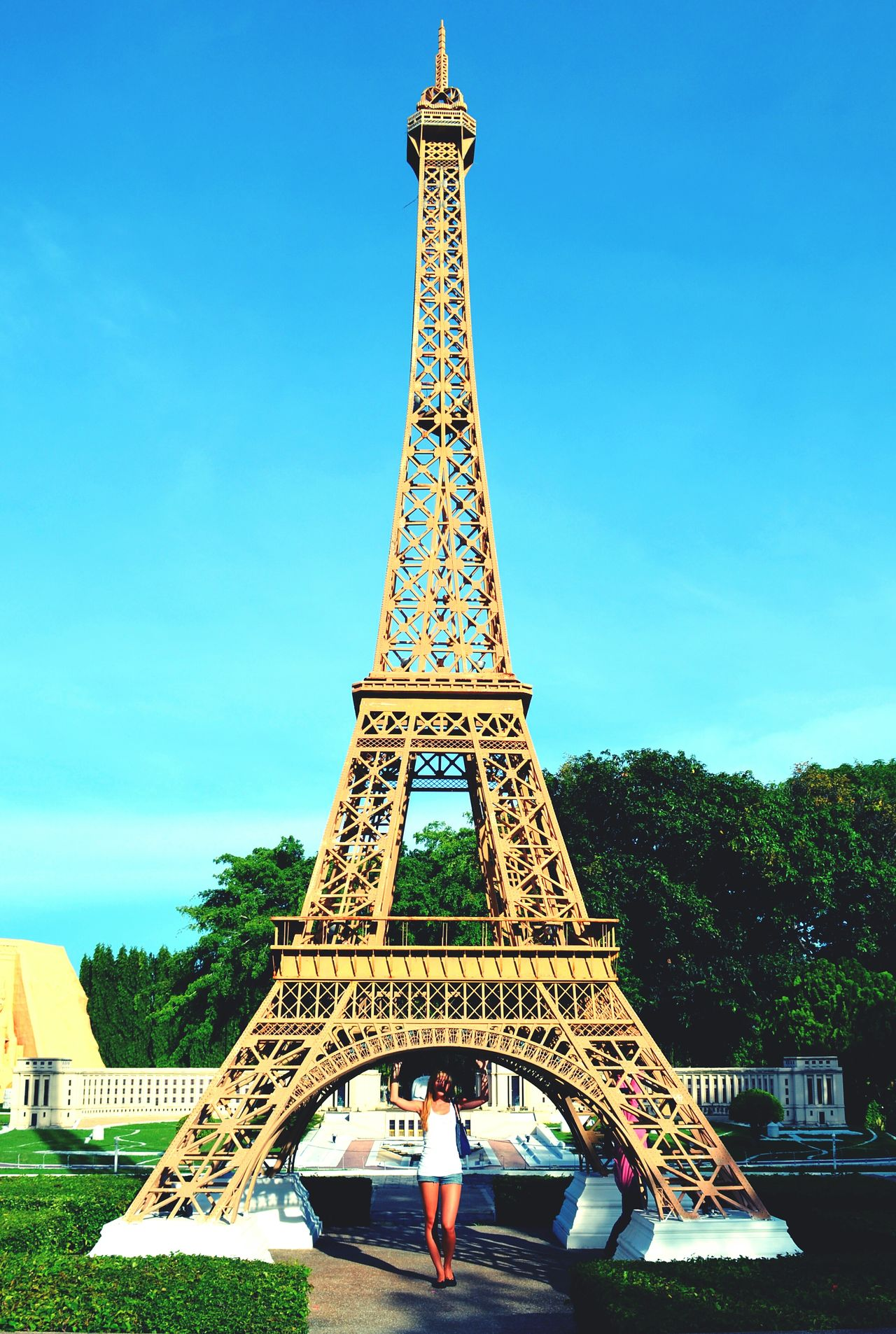 Thailand Travel Architecture Travel Destinations Sky Day Blue Tower Eiffel Tower Miniature Beautiful Woman One Young Woman Only Vacations Young Adult Eiffel Tower Copy Fun в Pataya Me Minisiam