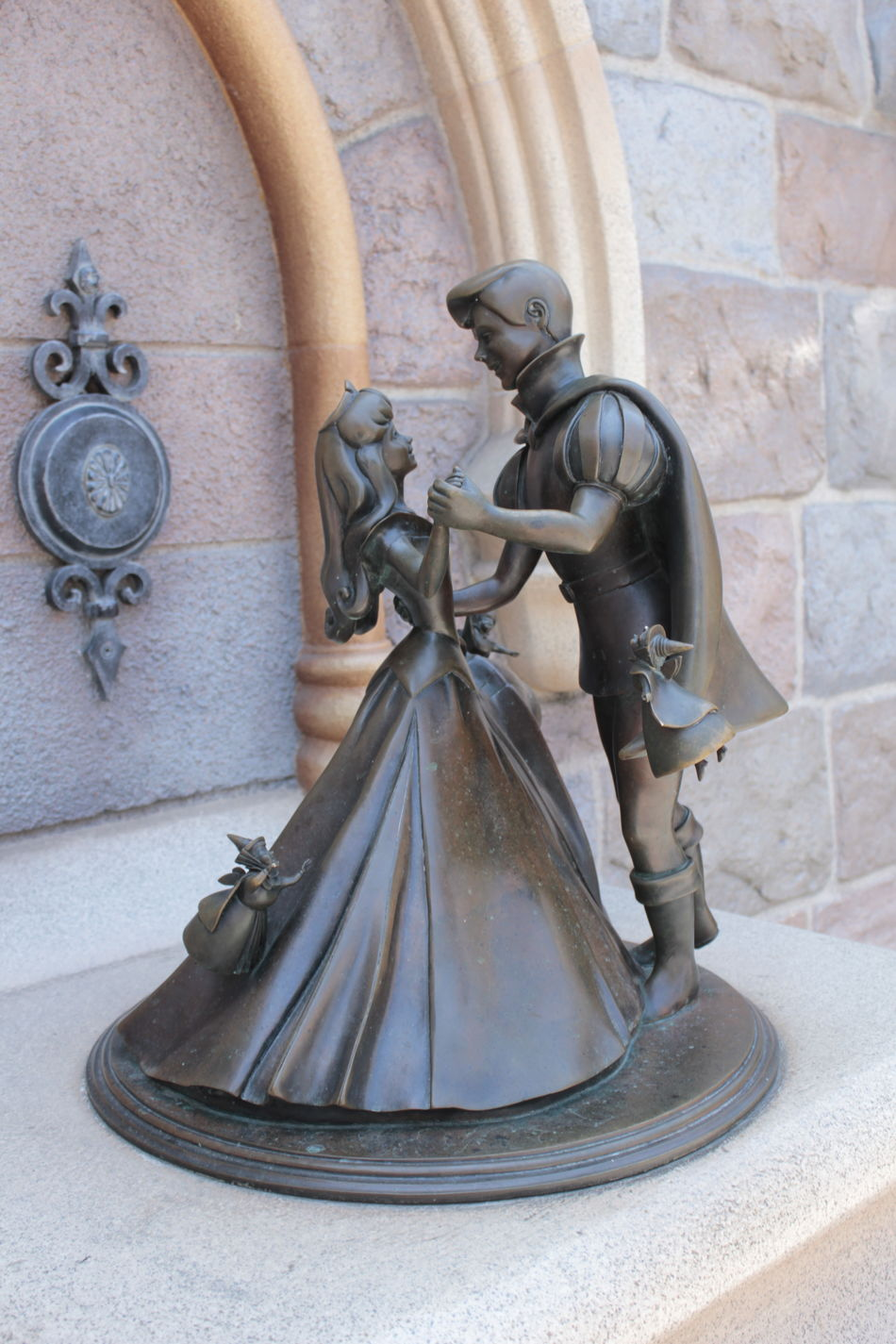 Architecture Bell Bronze Sculpture Built Structure Cinderella Day Disney Disneyland Love Story No People Outdoors Sculpture Statue Valentines