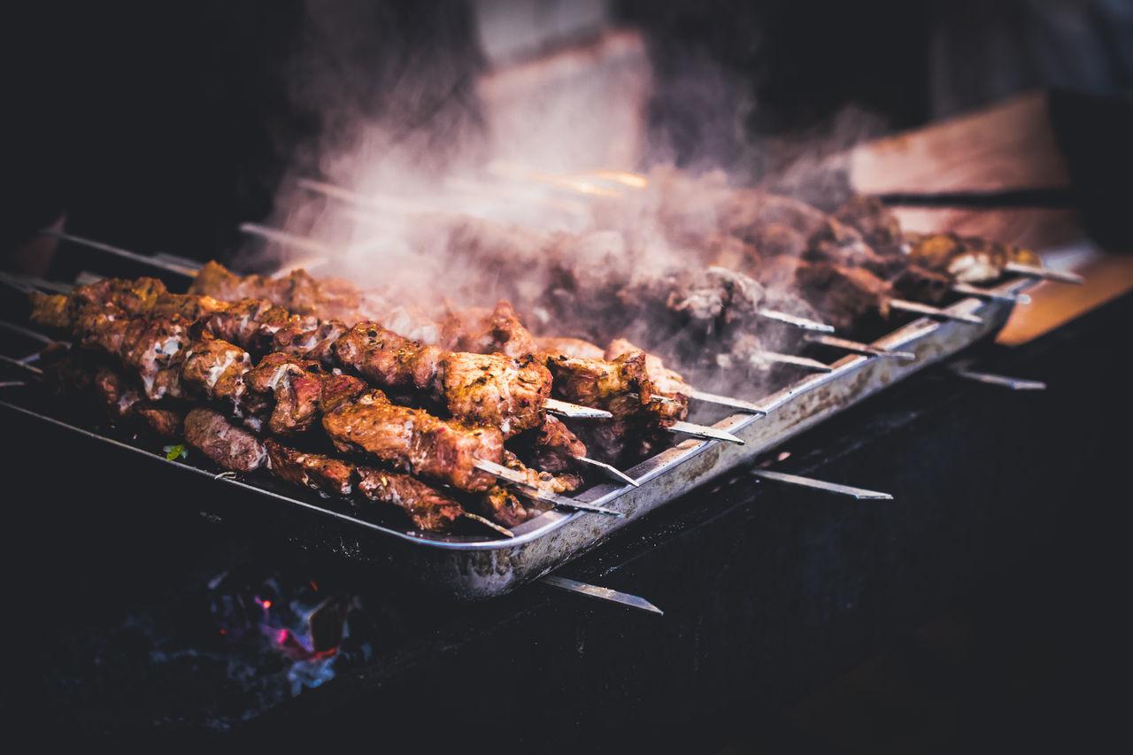 Shashlik, street market in Siberia. #Street Food Worldwide bBarbecue GrillBBurningCColorsFFlamefFoodgGrilledKKrasnoyarskMMarketMMealmMeatoOutdoorssSelective FocussShashliksSiberiasSmoke - Physical StructuresSnowWWinter