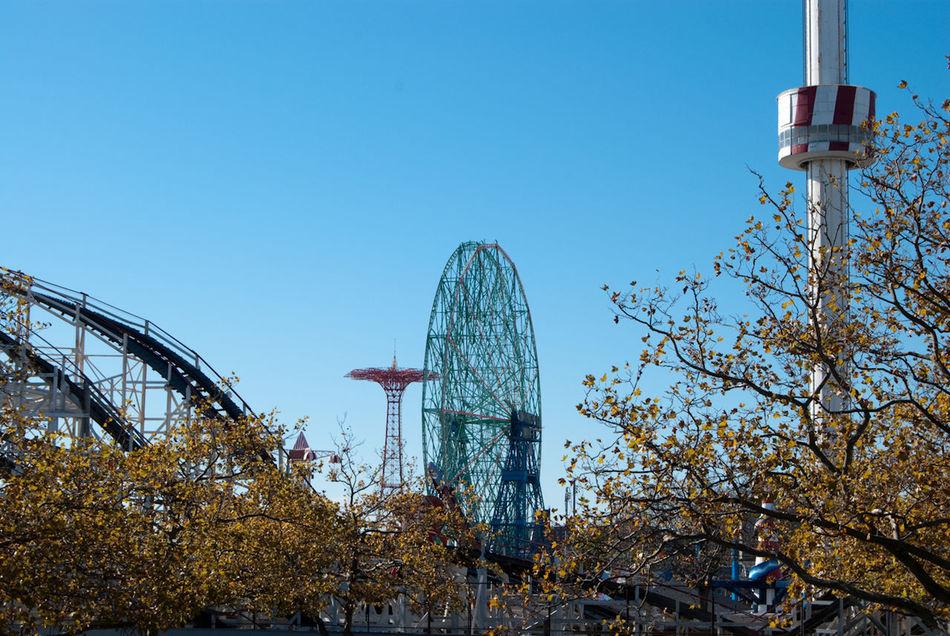 Deserted Coney Island Coney Island Amusementpark Funfair Beach Roller Coaster Ferris Wheel Parachute Jump Early Morning Endoftheline