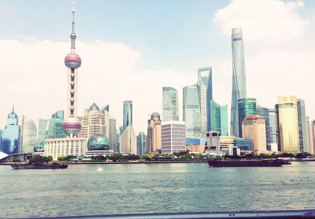 Dall'altra parte del fiume... Shanghai China Bund Grattacieli Bottiglia Apribottiglia Mappamondo Perla Fiume
