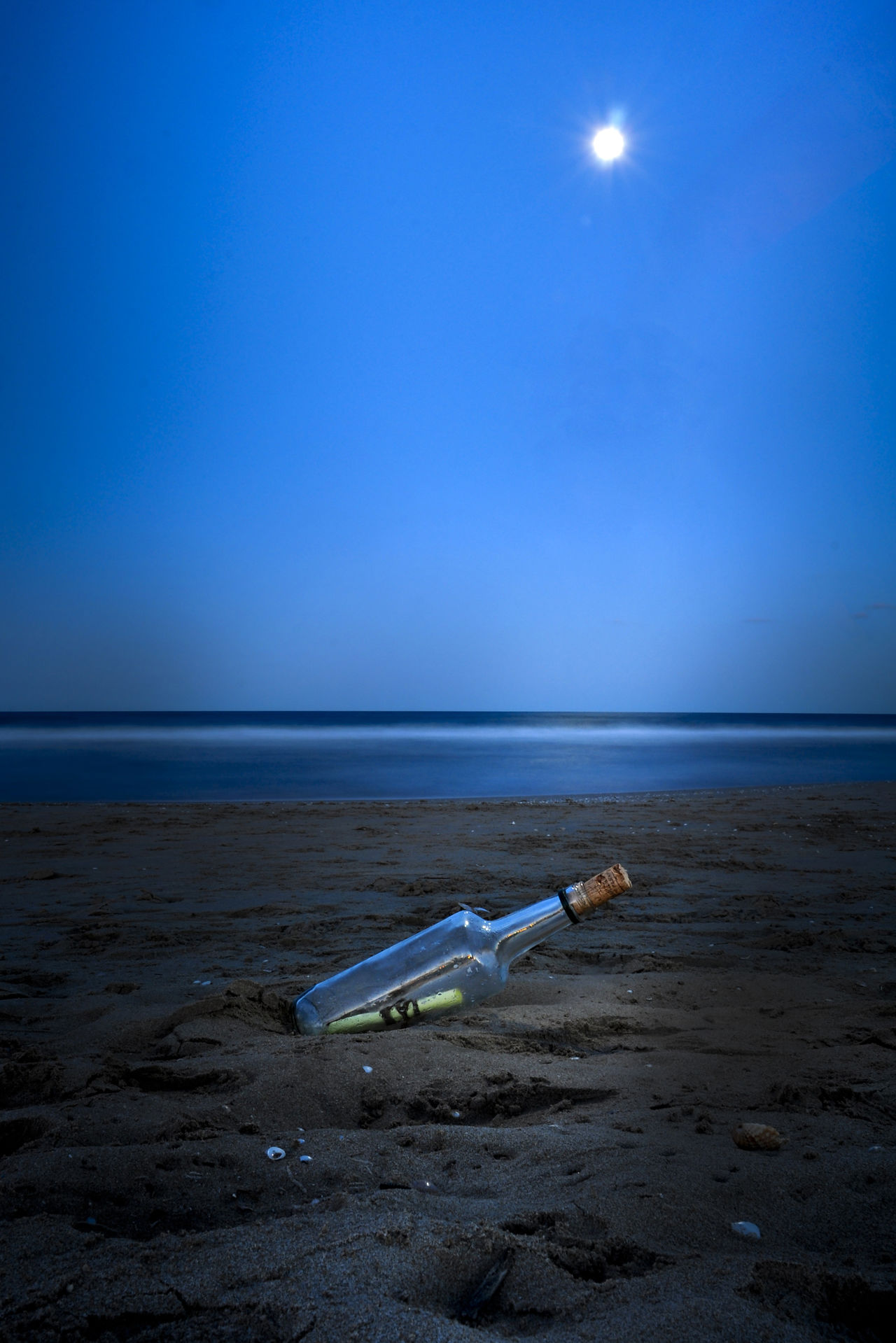 Beach Beauty In Nature Horizon Over Water Message In A Bottle Night Outdoors Sand Sea