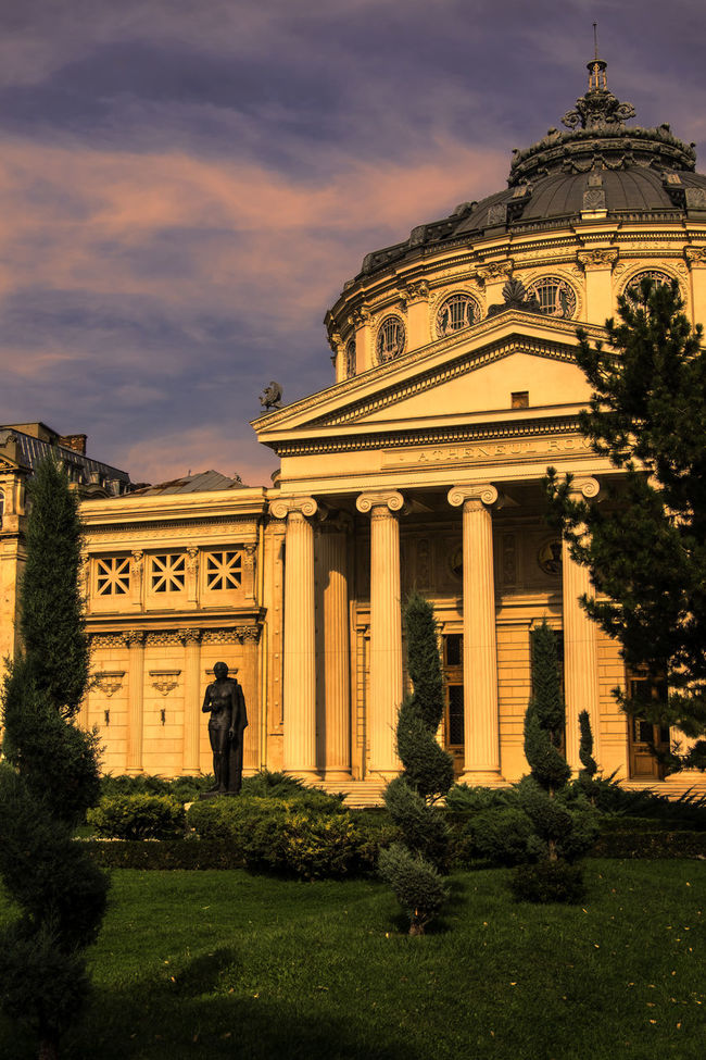 Image with Romanian Athenaeum Architectural Column Architecture Art Athenaeum Atheneum Building Building Exterior Built Structure City Day History Human Eye Landmark Outdoors People Sky Tourism Travel Travel Destinations