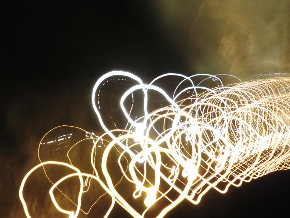 Black And Gold Black And White Blurred Motion Fog Glowing Heart Heart Shape Hearts Illuminated Light And Dark Light Painting Light Trail Long Exposure Motion Night No People Outdoors Sky Speed The Way Of Light