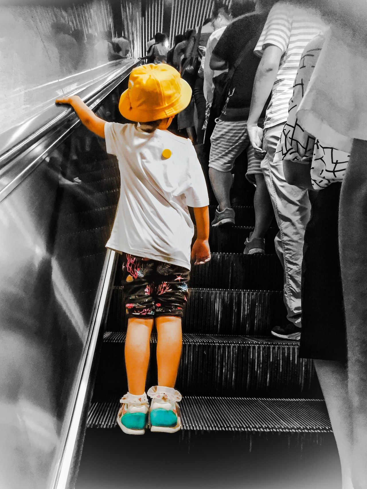 Shanghai street 02 --A small girl wearing yellow hat Shanghai Streets Hanging Out Shanghai Subway From My Point Of View EyeEm Best Shots Streetphotography IPhoneography Shanghai Photography My City Taking Photos Shanghai Life Colour Of Life Children My Street Photography