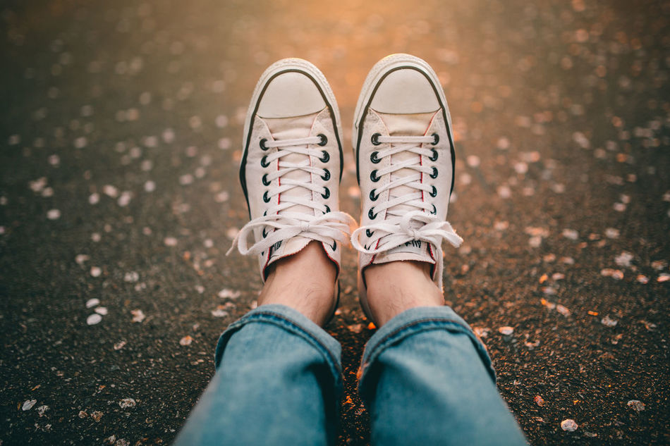 Beautiful stock photos of lifestyle, Asphalt, Canvas Shoe, Focus On Foreground, Human Body Part