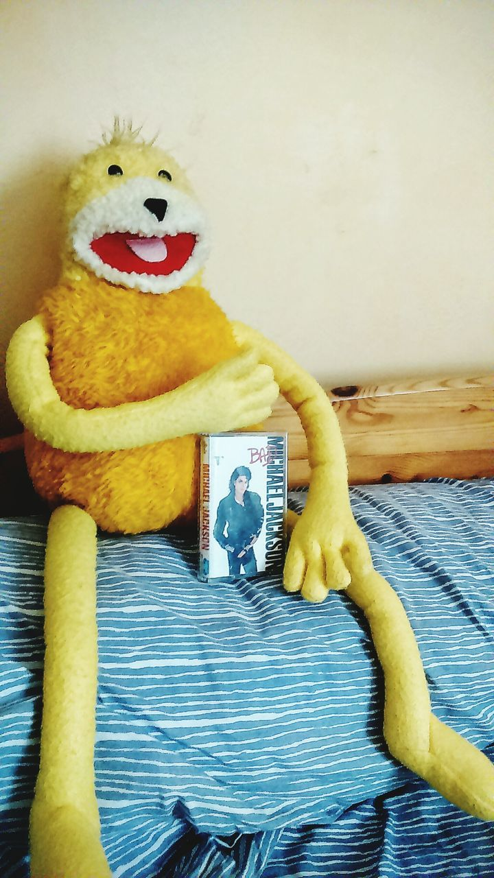 toy, animal representation, stuffed toy, indoors, yellow, childhood, teddy bear, no people, communication, close-up, day