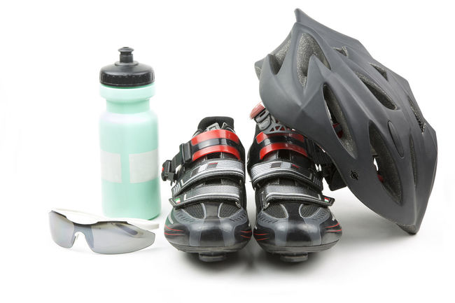 Bike Bycicle Close-up Container Cut Out Cycling Day Equipment Focus On Foreground Gear Helmet Isolated Man Made Object No People Outdoors Protection Schoes Side By Side Still Life Studio Shot Sunglasses Two Objects White Background