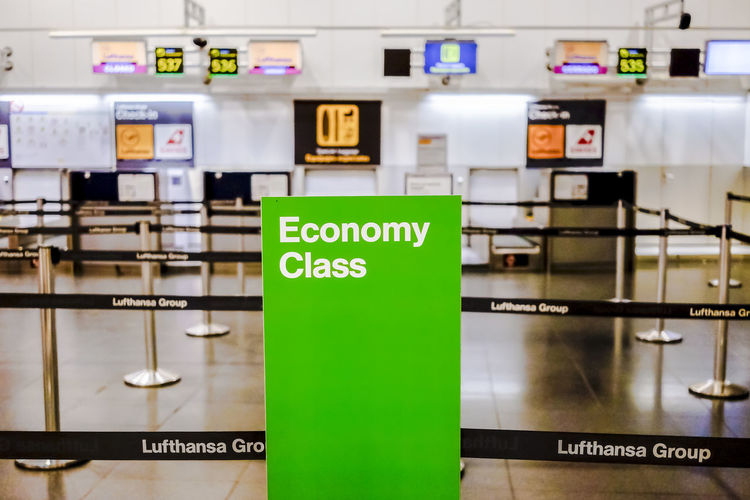 Lufthansa Economy Class Check in area in Terminal 2 Madrid Barajas Airport. Economy Green Lufthansa Passenger T2 Transportation Travel Airline Airlines Barajas Check In Close-up Communication Departure Economy Class Editorial  Green Color Hall Indoors  No People Technology Text Travel Destinations