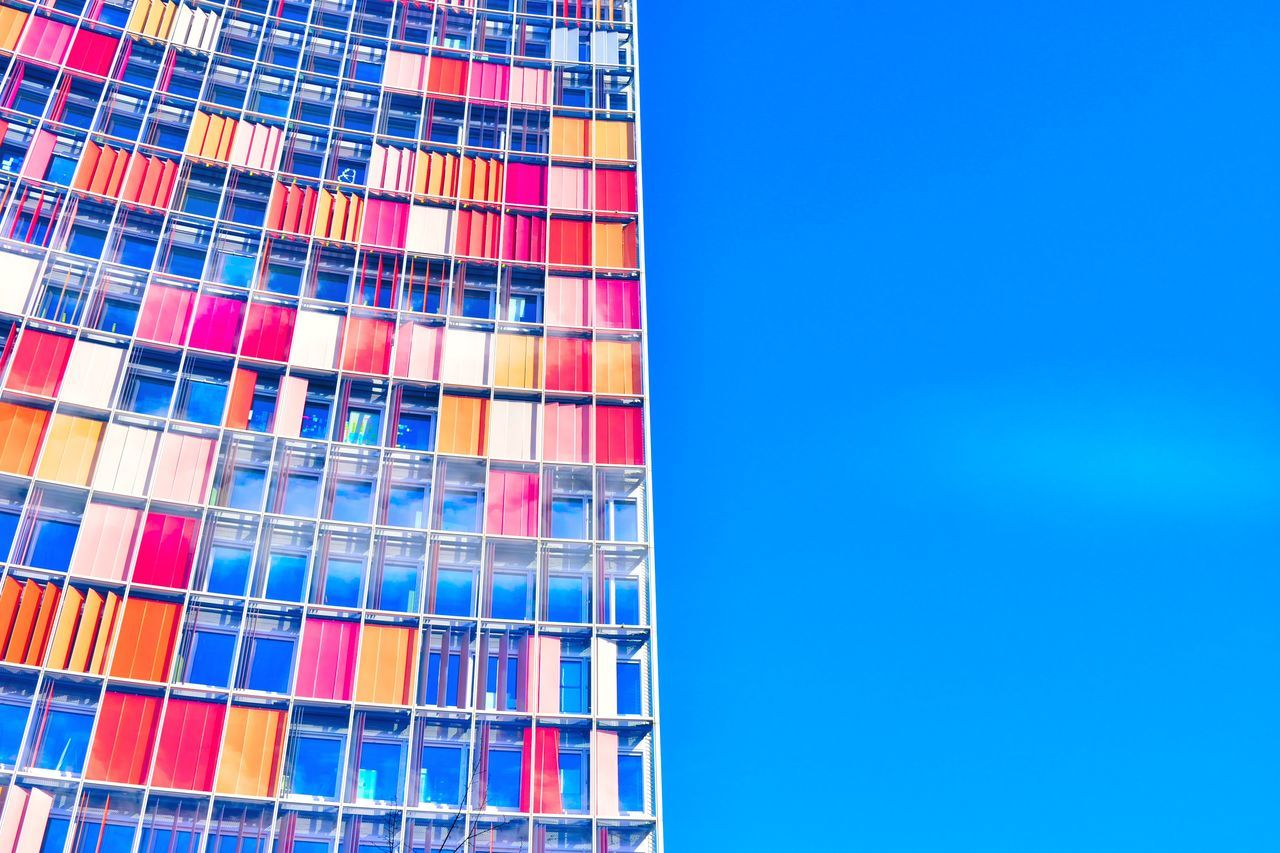 A colorful apartment in Mitte, Berlin. Apartment Architecture Backgrounds Berlin Blue Building Exterior Built Structure Clear Sky Day Multi Colored No People Outdoors Pattern Sky Skyscraper Window Wohnung